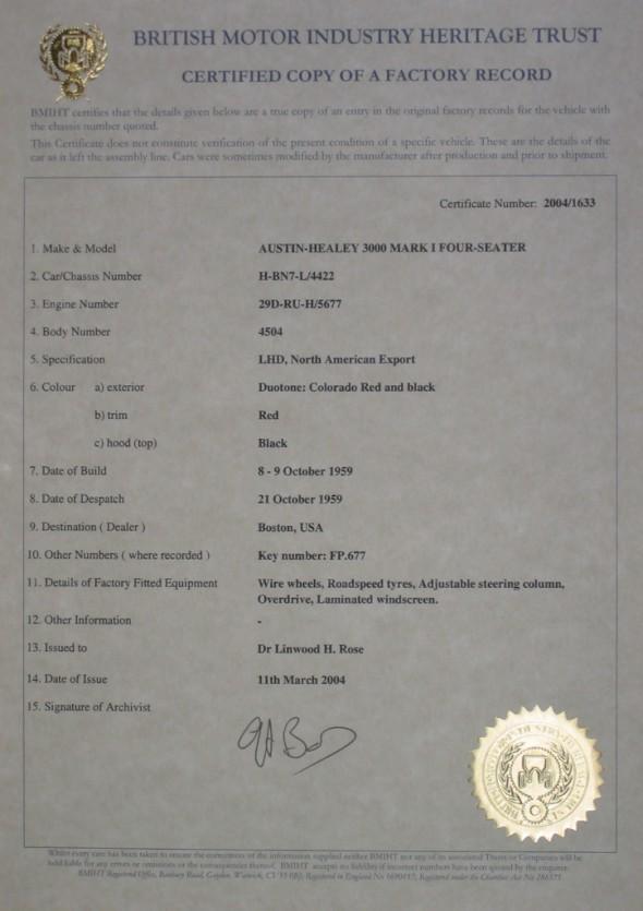 Heritage Certificate