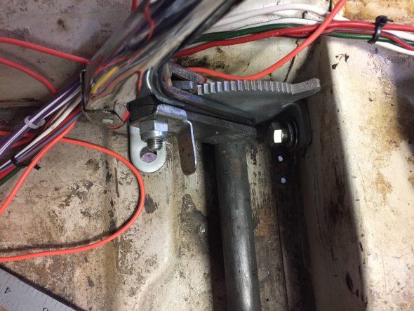 Handbrake front mount bolt to seat crossmember