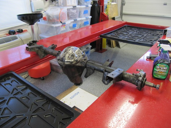 Rear Axle on Lift for Cleaning