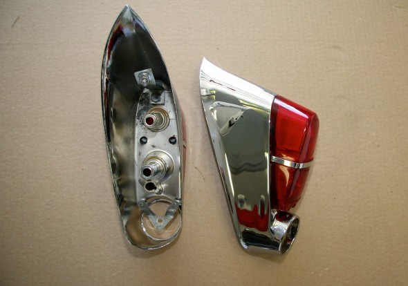 Tail Light Assemblies New Chrome Missing Reflectors