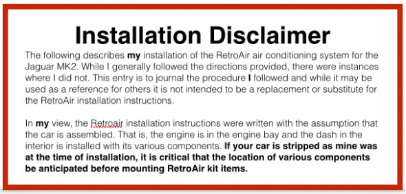RetroAir Installation Disclaimer