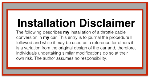 Installation Disclaimer