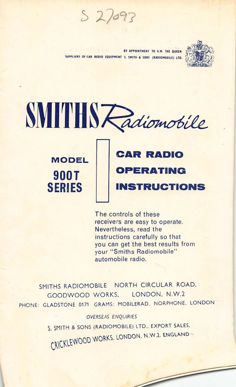 Smiths Radiomobile Car Radio Operating Instructions