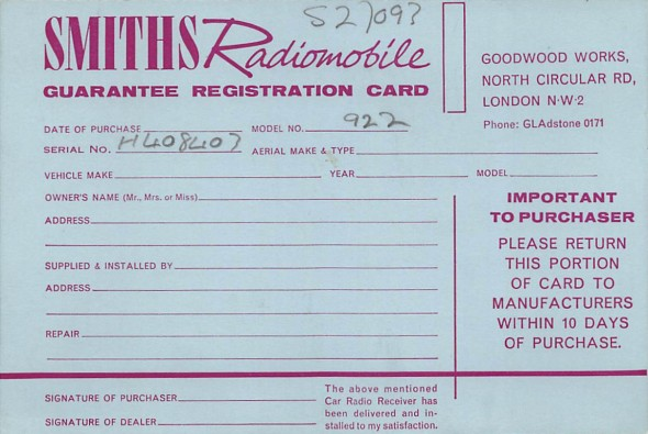 Smiths Radiomobile Guarantee Registration Card