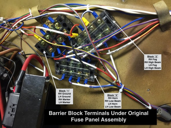 Barrier Block Terminals Under Original Fuse Panel Assembly