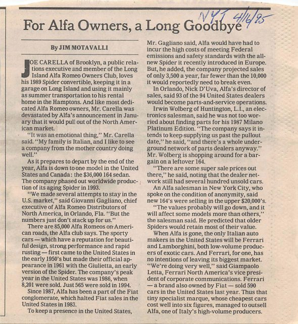 New York Times article Alfa's 1995 demise in U.S. market